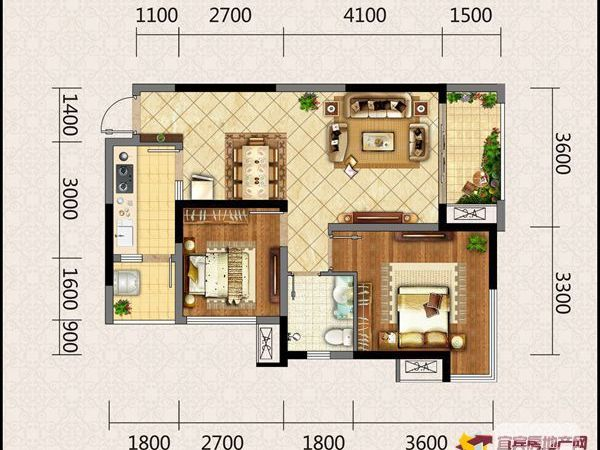 邦泰国际社区 南区 2室2厅1卫68平