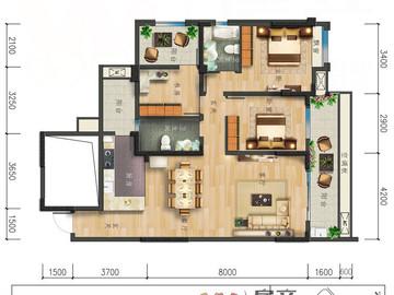 C戶型|陽光舒適三居|三室兩廳雙衛