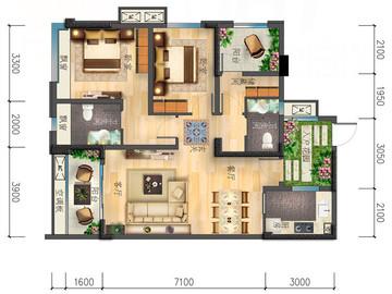 B戶型|超值三居|三室兩廳兩衛