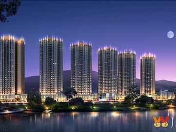 金沙明珠沿江夜景透视图