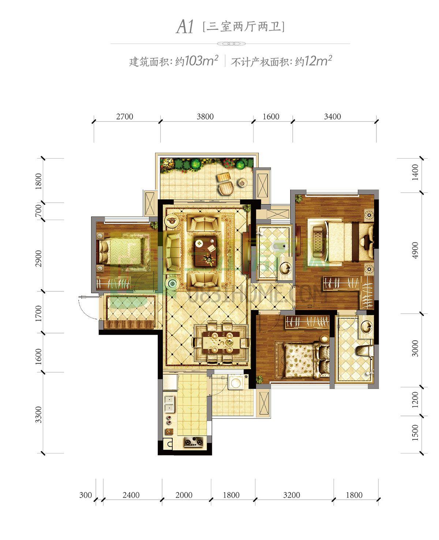 A1  三室两厅两卫
