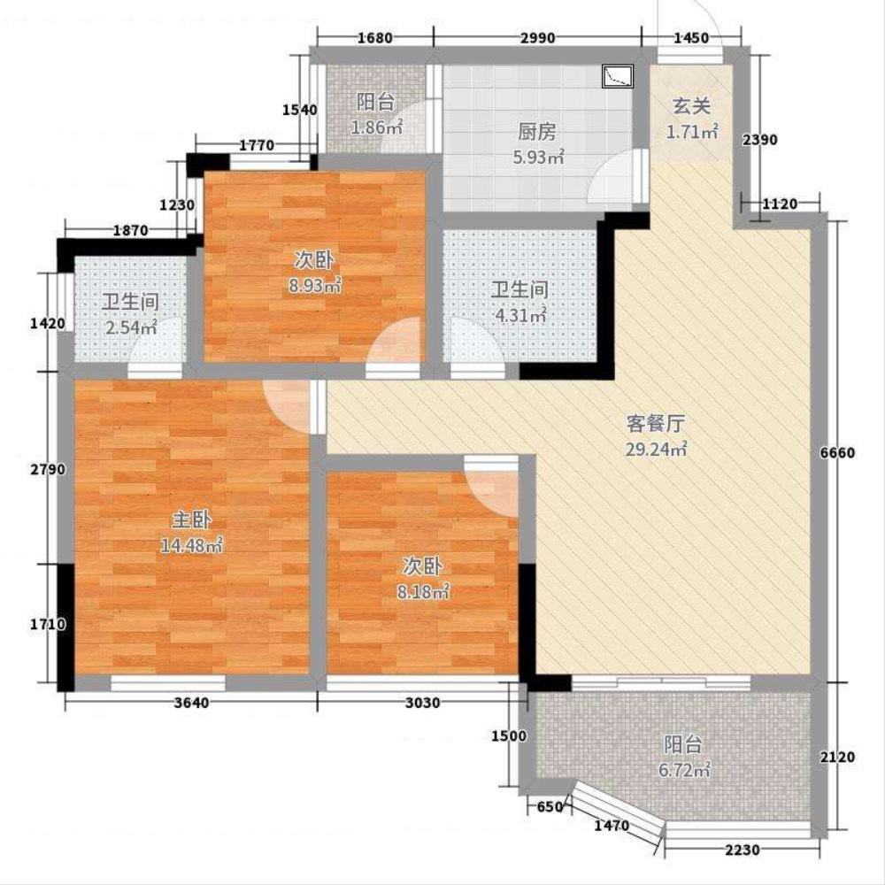 出租长江之滨3室2厅2卫99平米2200元/月住宅