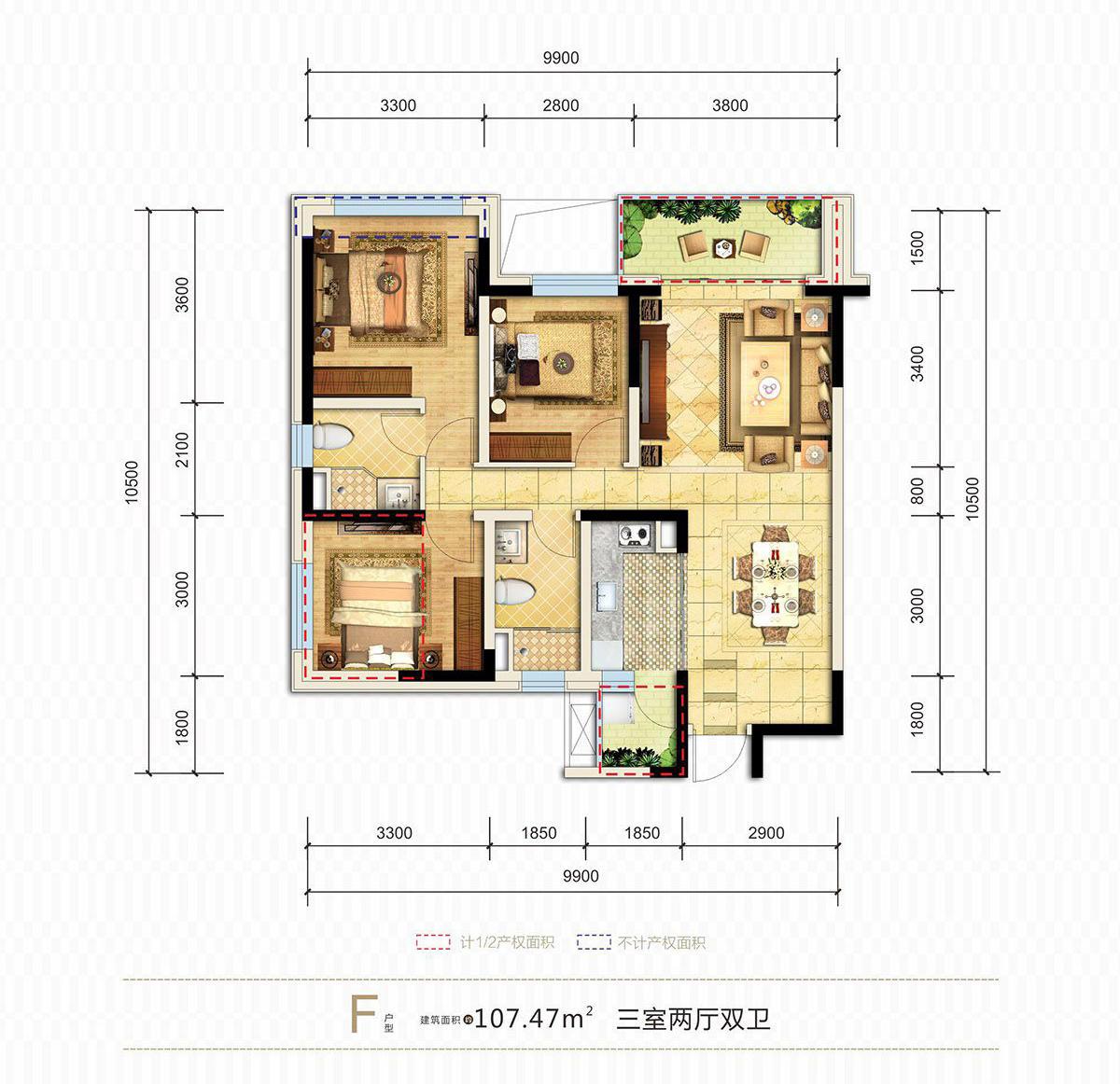 临港恒旭铜雀台清水房3室2厅